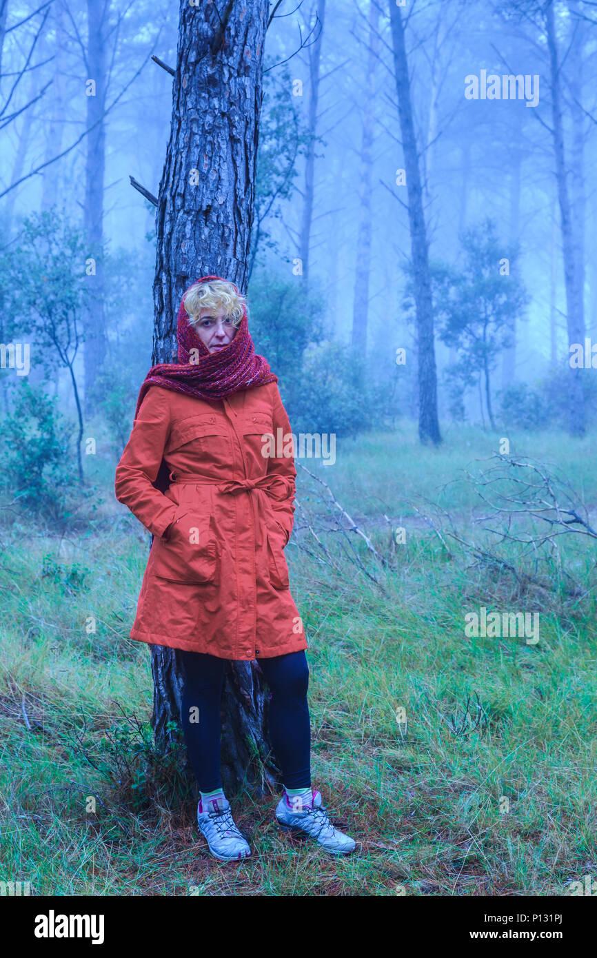 Woman in a pine grove. Tierra Estella County, Navarre, Spain, Europe. - Stock Image