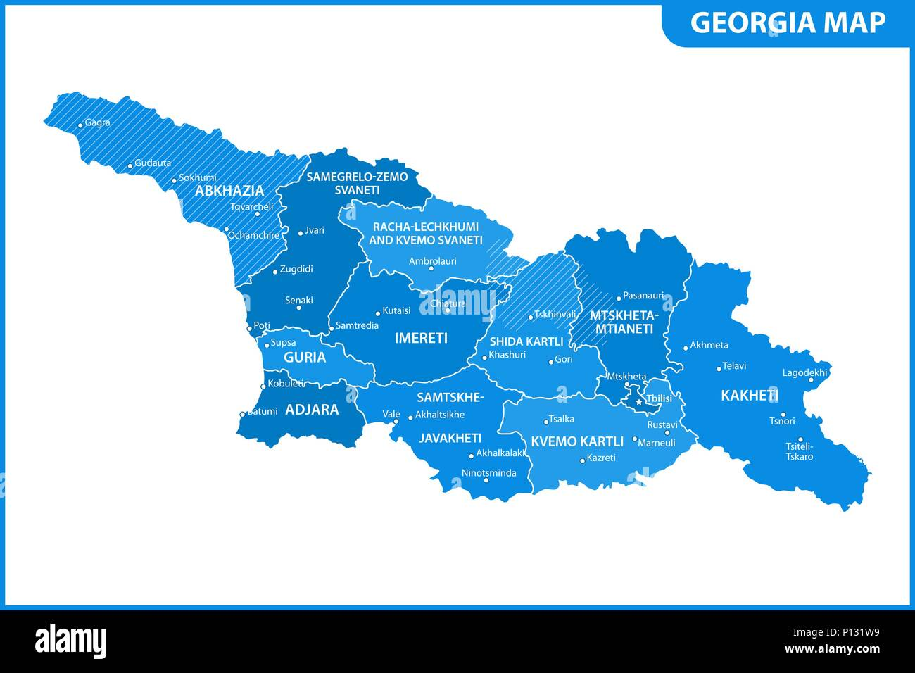 Map Of Georgia With Capital.The Detailed Map Of The Georgia With Regions Or States And Cities