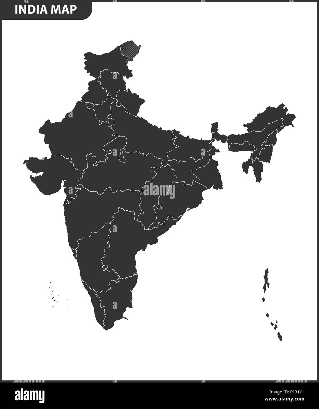 The detailed map of the India with regions or states. Administrative division. - Stock Vector
