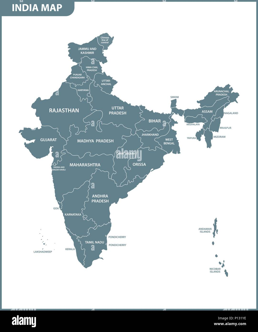 The detailed map of the India with regions or states. Administrative division. Stock Vector