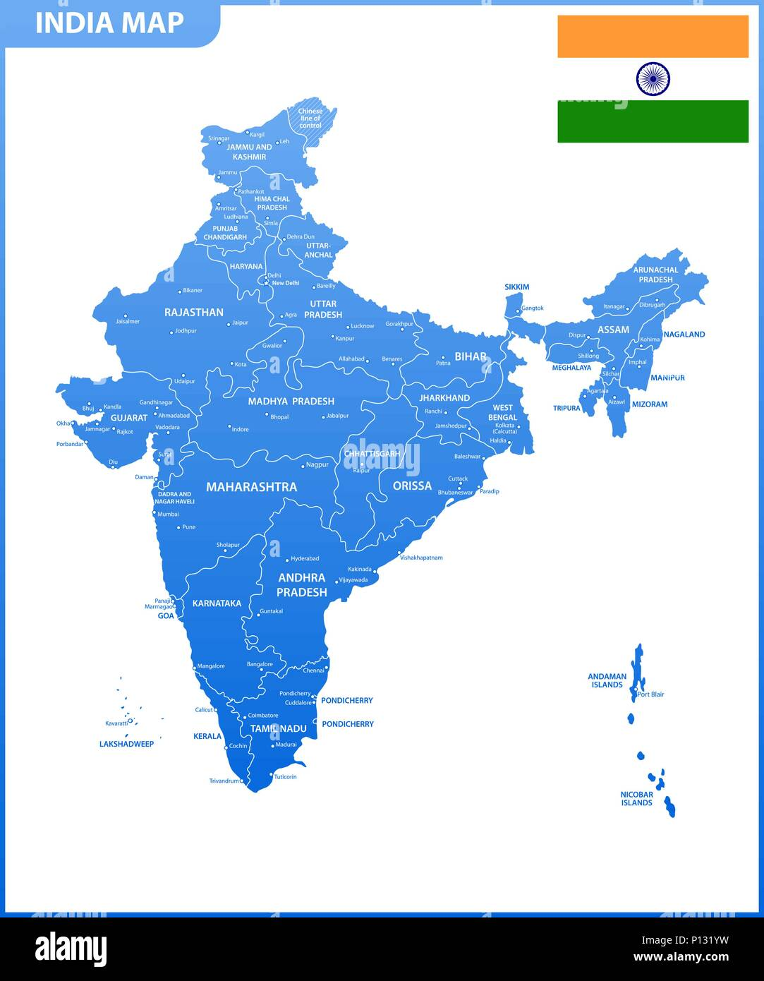 The detailed map of the India with regions or states and cities, capital. Administrative division. - Stock Vector