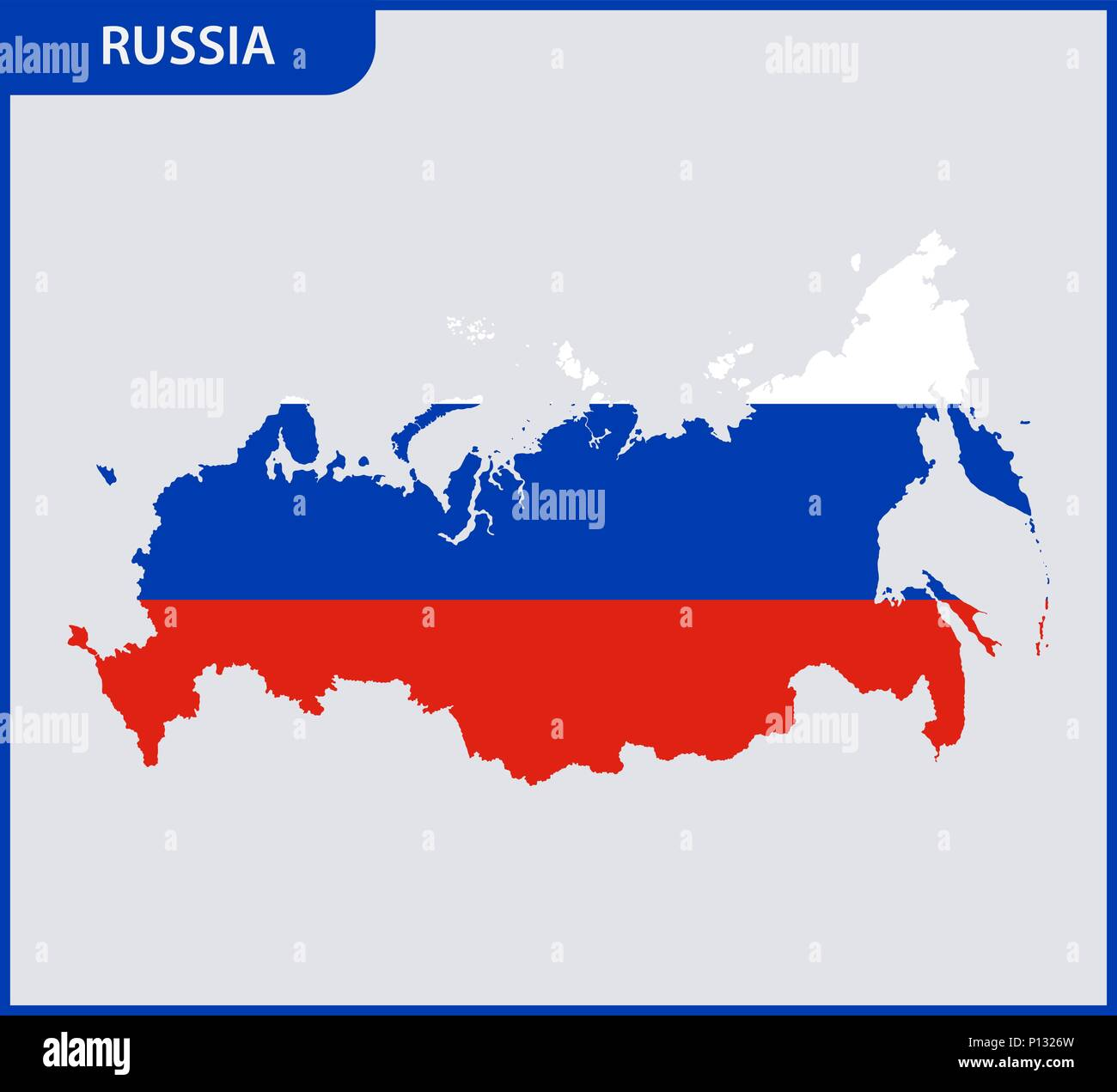 The detailed map of Russia. Russian Federation with National Flag - Stock Vector