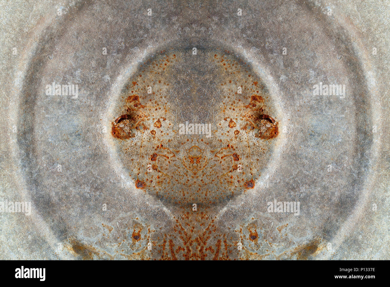 Rusty galvanized iron with circles. - Stock Image