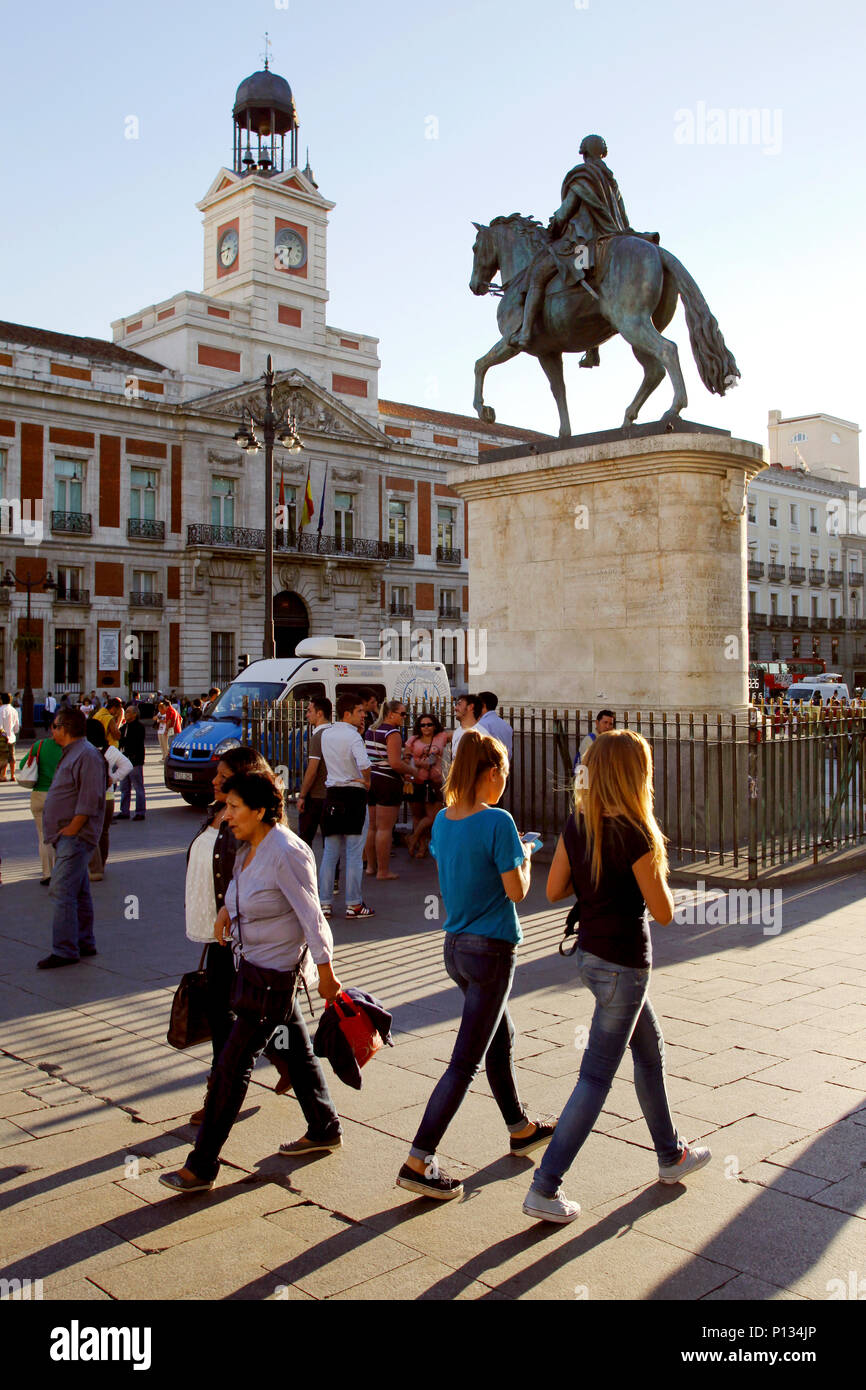Mounted statue of Charles III of Spain, Puerta del Sol square, Madrid, Spain Stock Photo