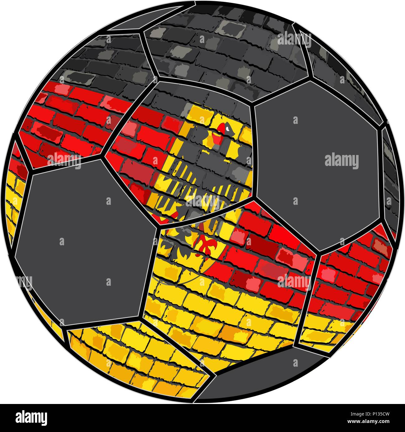 Germany flag with soccer ball background - Illustration,  Soccer football ball with Germany flag,  Deutschland flag in brick style - Stock Vector