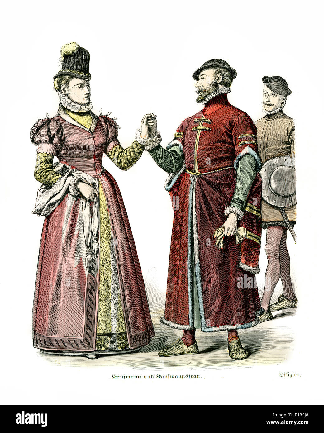 Vintage engraving of History of Fashion, Costumes of England, 16th Century.  London Merchant and wife, Officer, 1590 - Stock Image