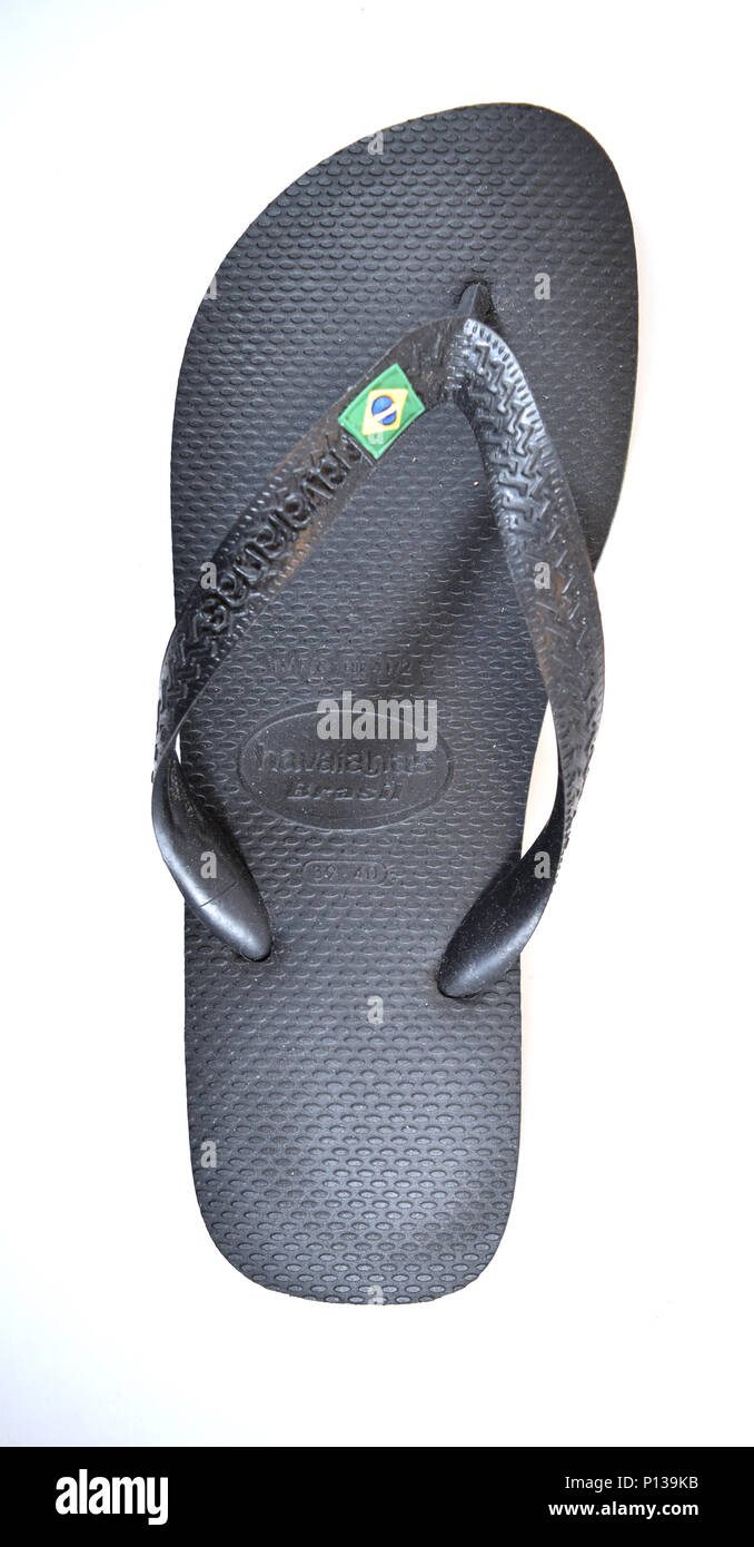 09e8fbccd APRIL 29 2016  black Havaianas sandal with Brazilian flag on strap - Stock  Image