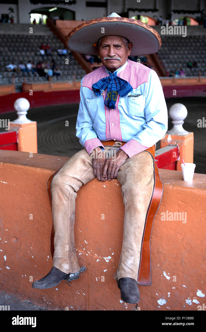 A Mexican Charro sits in National de Charros in Mexico City, Mexico, June 8, 2008. Male rodeo competitors are 'Charros,' from which comes the word 'Ch - Stock Image