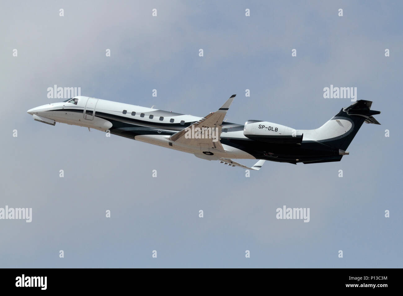 Embraer Legacy 600 business jet aircraft flying after taking off - Stock Image
