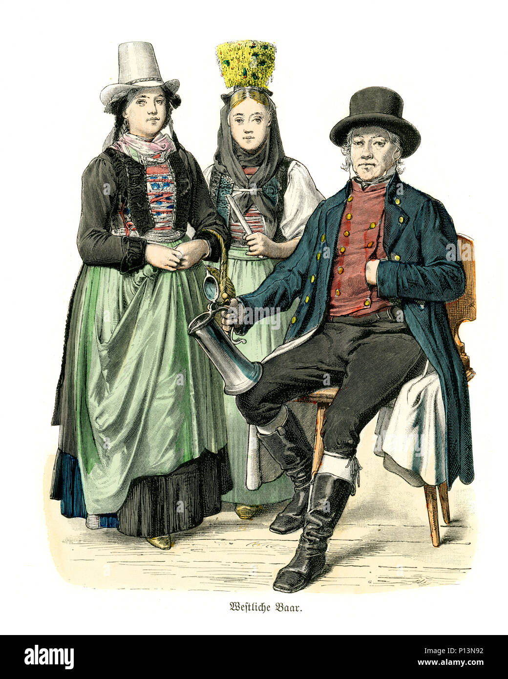 Vintage engraving of History of Fashion, Costumes of Germany Men and women of Baden19th Century Stock Photo