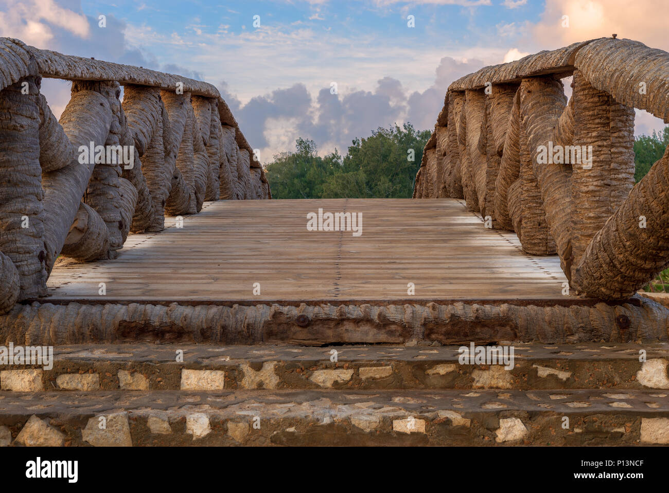 Wooden bridge made of palm trunks leading to trees with partly cloudy sky in sunrise time at Montaza public park in summer time, Alexandria, Egypt - Stock Image