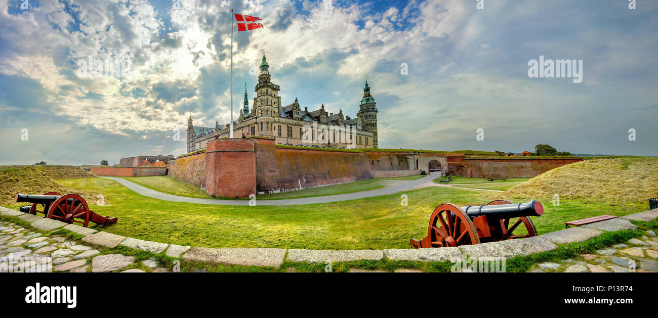 Panoramic view of fortifications with defense cannons and fortress walls in Kronborg castle. Helsingor, Denmark - Stock Image