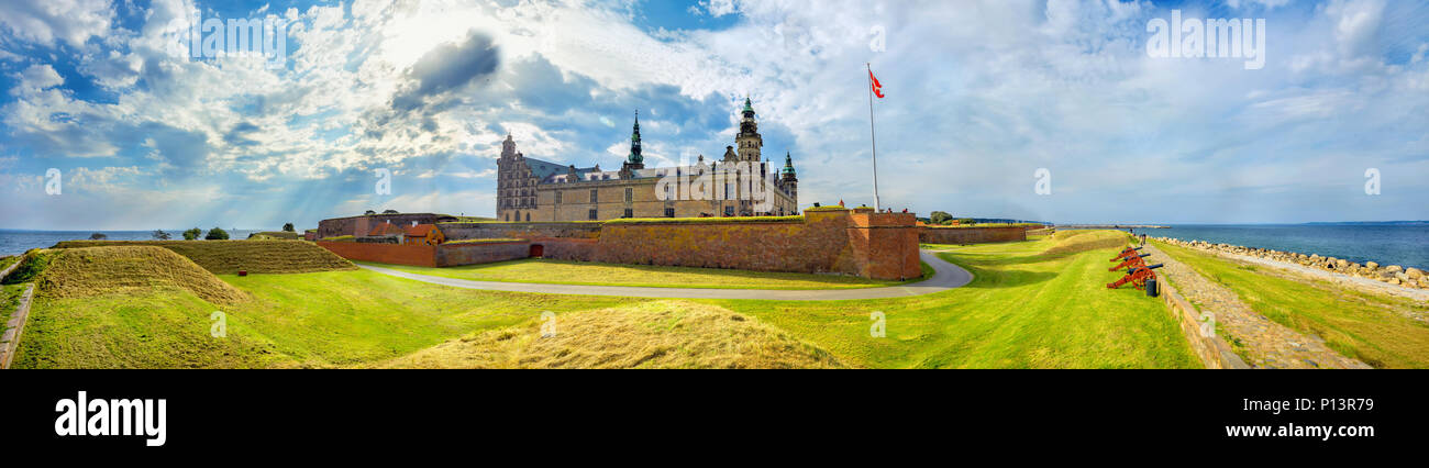 Wide panoramic view of fortifications with defense cannons and fortress walls in Kronborg castle. Helsingor, Denmark - Stock Image