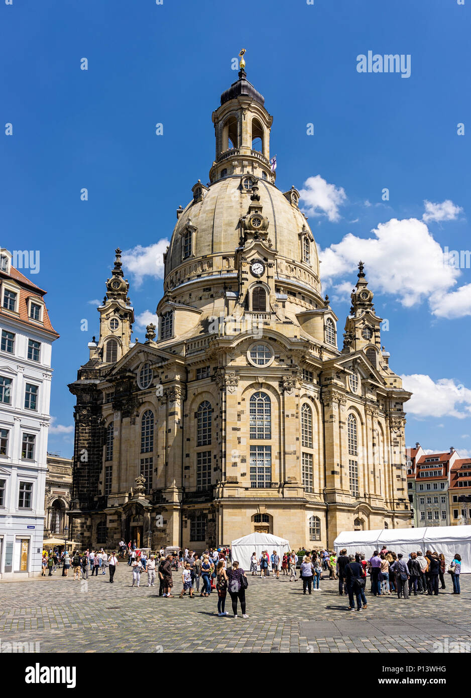 DRESDEN, GERMANY - May 21, 2018: Dresden Frauenkirche - Lutheran church in Saxony of Germany. Destroyed in 1945, reopend in 2005 - Stock Image