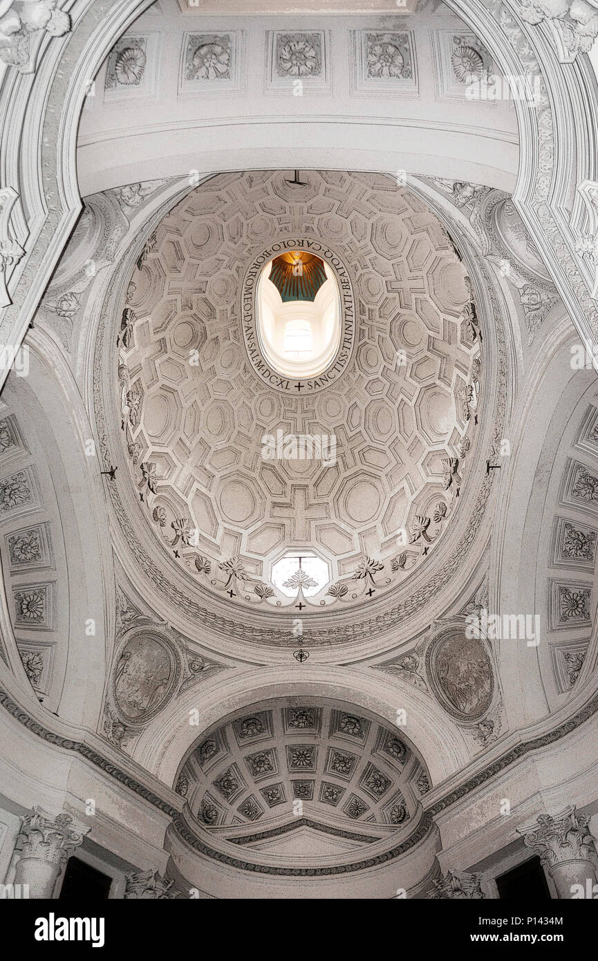 San Carlo alle Quattro Fontane (1634-46), view looking up at vestibule, showing full oval dome (rendered in PS), by F. Borromini, Rome, Italy Stock Photo