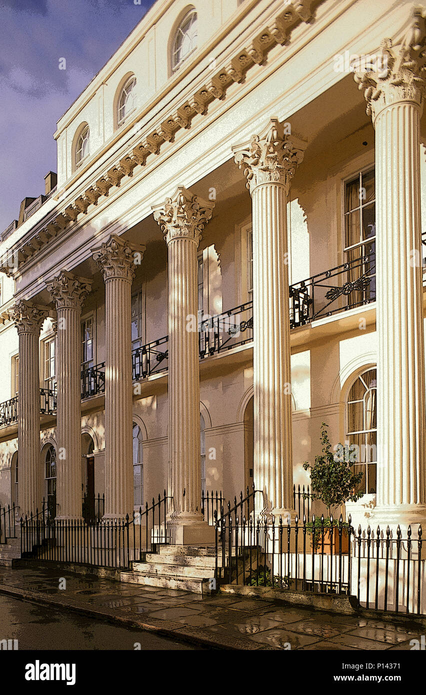Chester Terrace (1825), Corinthian portico on the west elevation with late light after a rain, by John Nash and Decimus Burton, London, UK Stock Photo