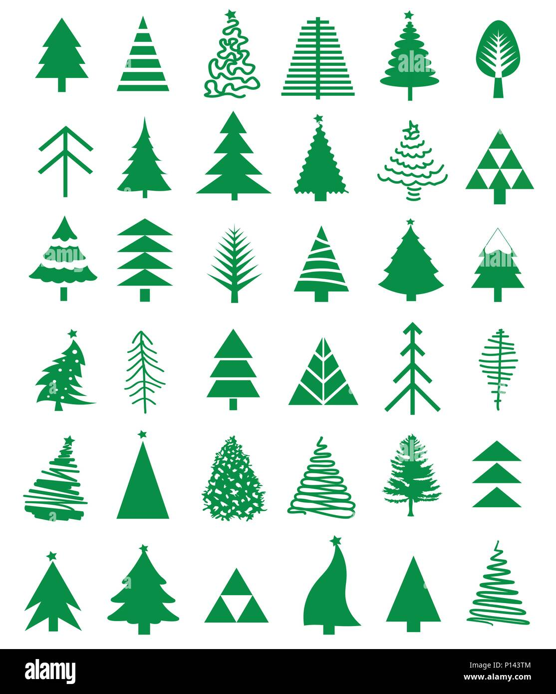 Christmas tree icon set - Stock Vector
