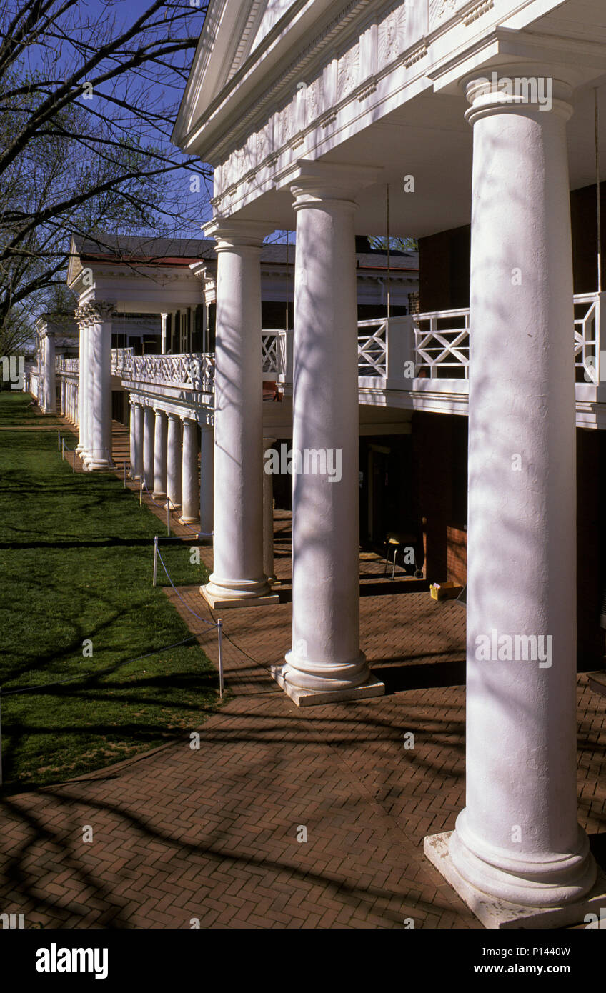 University of Virginia: Academical Village, view along the northwest colonnade, by Thomas Jefferson, Charlottesville, VA, USA Stock Photo