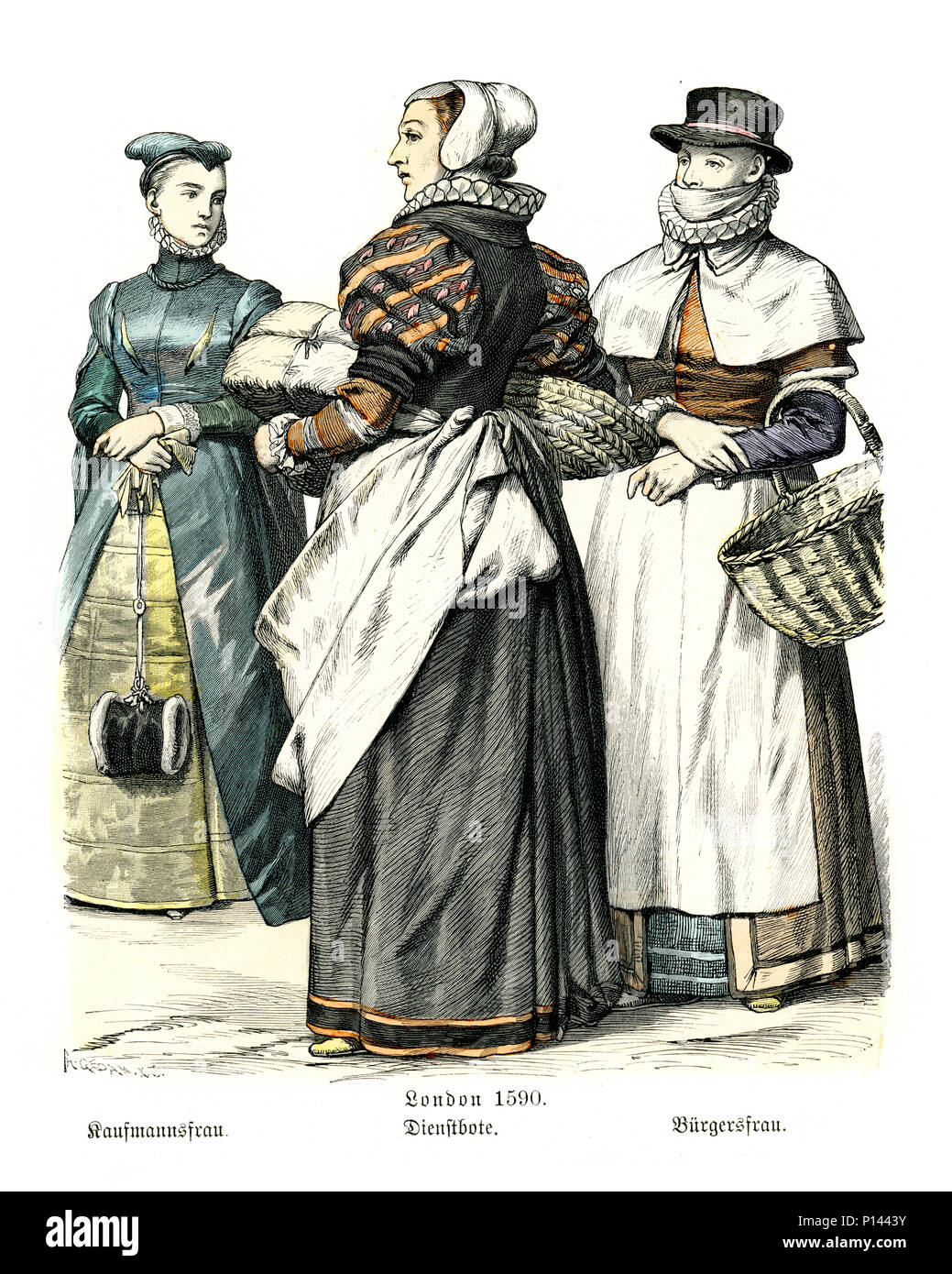 Vintage engraving of History of Fashion, Womens Costumes of London, late 16th Century.  Noblewoman, merchants wife and servant - Stock Image