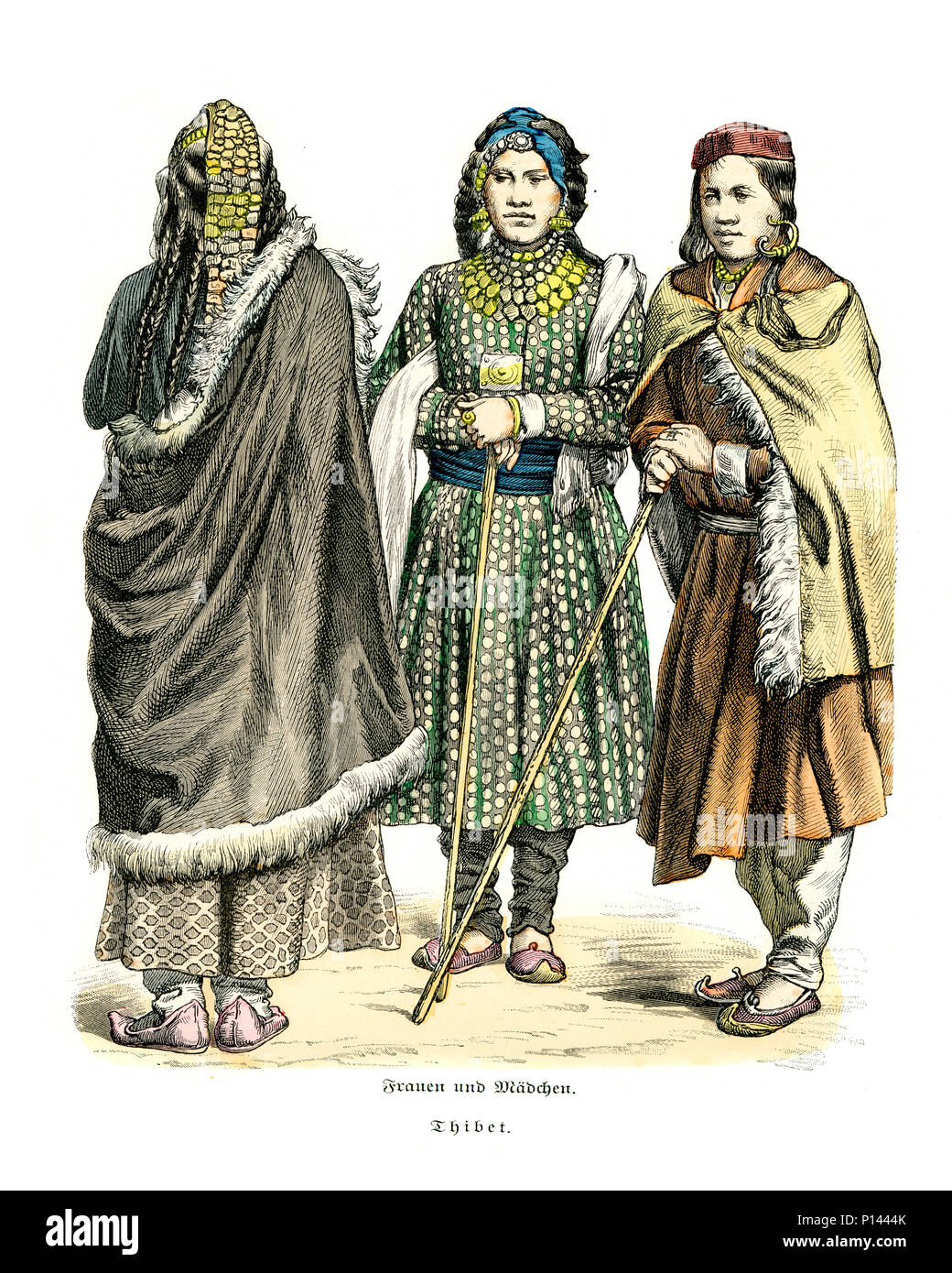 Vintage engraving of History of Fashion, Costumes of Tibet, Women 19th Century - Stock Image