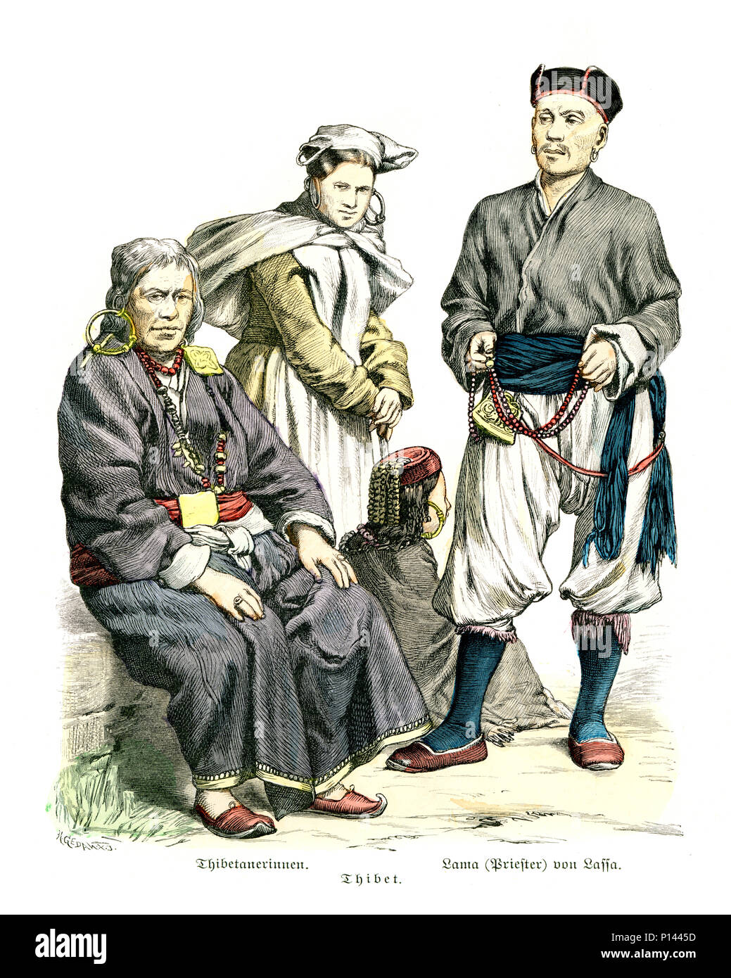 Vintage engraving of History of Fashion, Costumes of Tibet, Men and Woman, Lama of Lassa, 19th Century - Stock Image