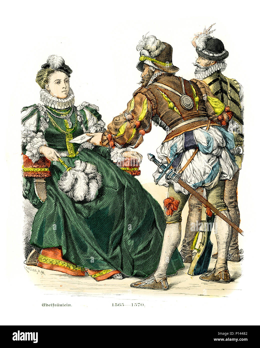 Vintage engraving of History of Fashion, Costumes of Germany 16th Century. Unmarried lady of hish rank and soldiers, 1565 to 1570 - Stock Image