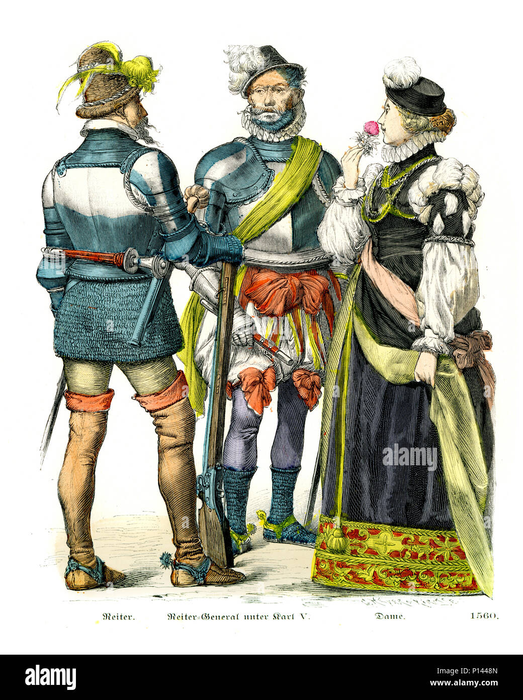 Vintage engraving of History of Fashion, Costumes of Germany 16th Century. Soldier and Cavalry General and Lady, 1560 - Stock Image