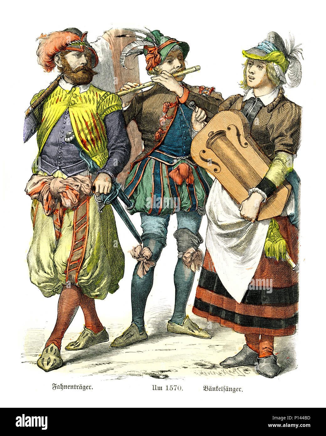 Vintage engraving of History of Fashion, Costumes of Germany 16th Century. Flag bearer and folk musicians - Stock Image