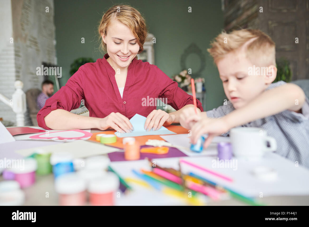 Making Present for Fathers Day - Stock Image