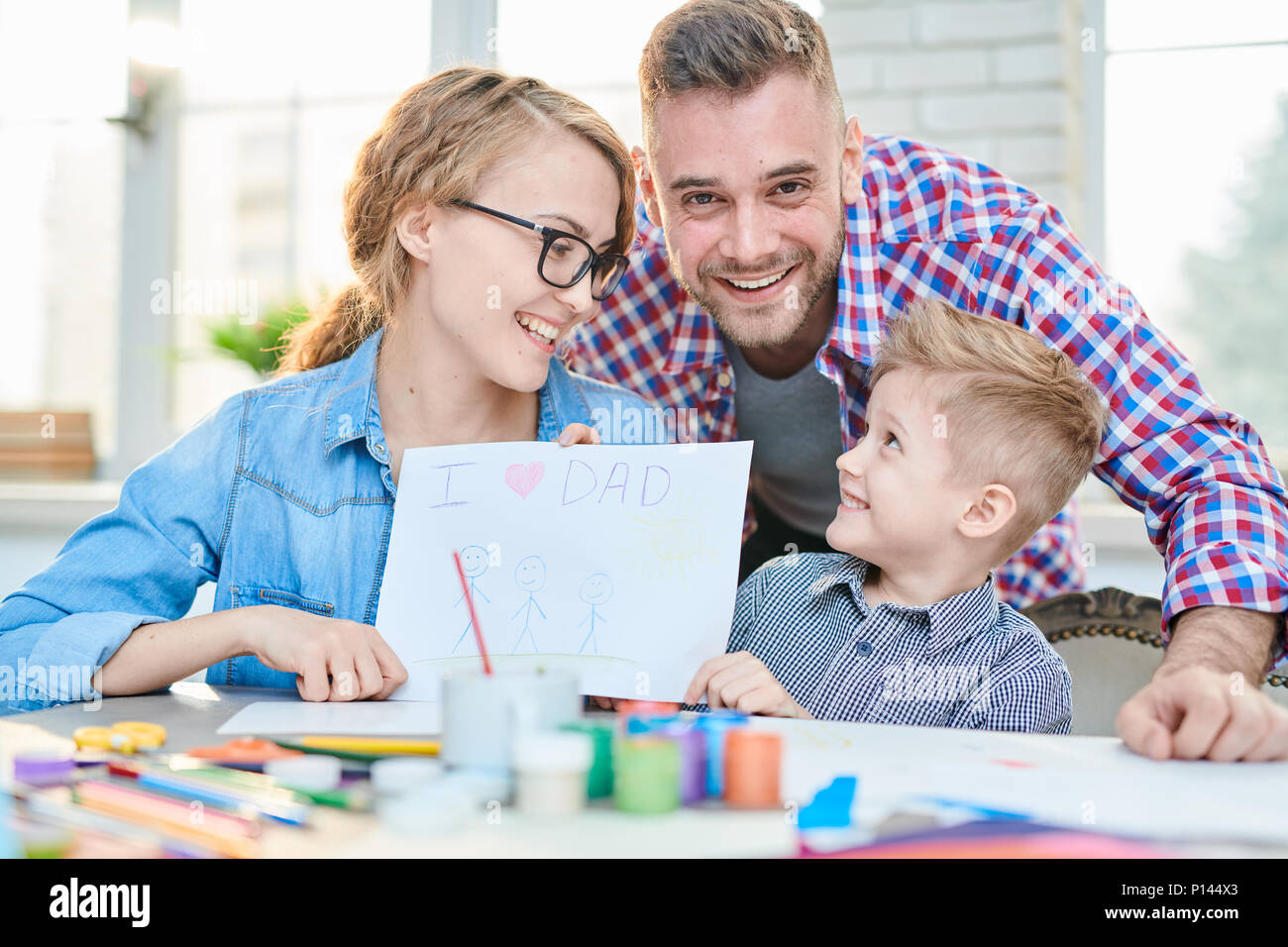 Loving Family Celebrating Fathers Day - Stock Image
