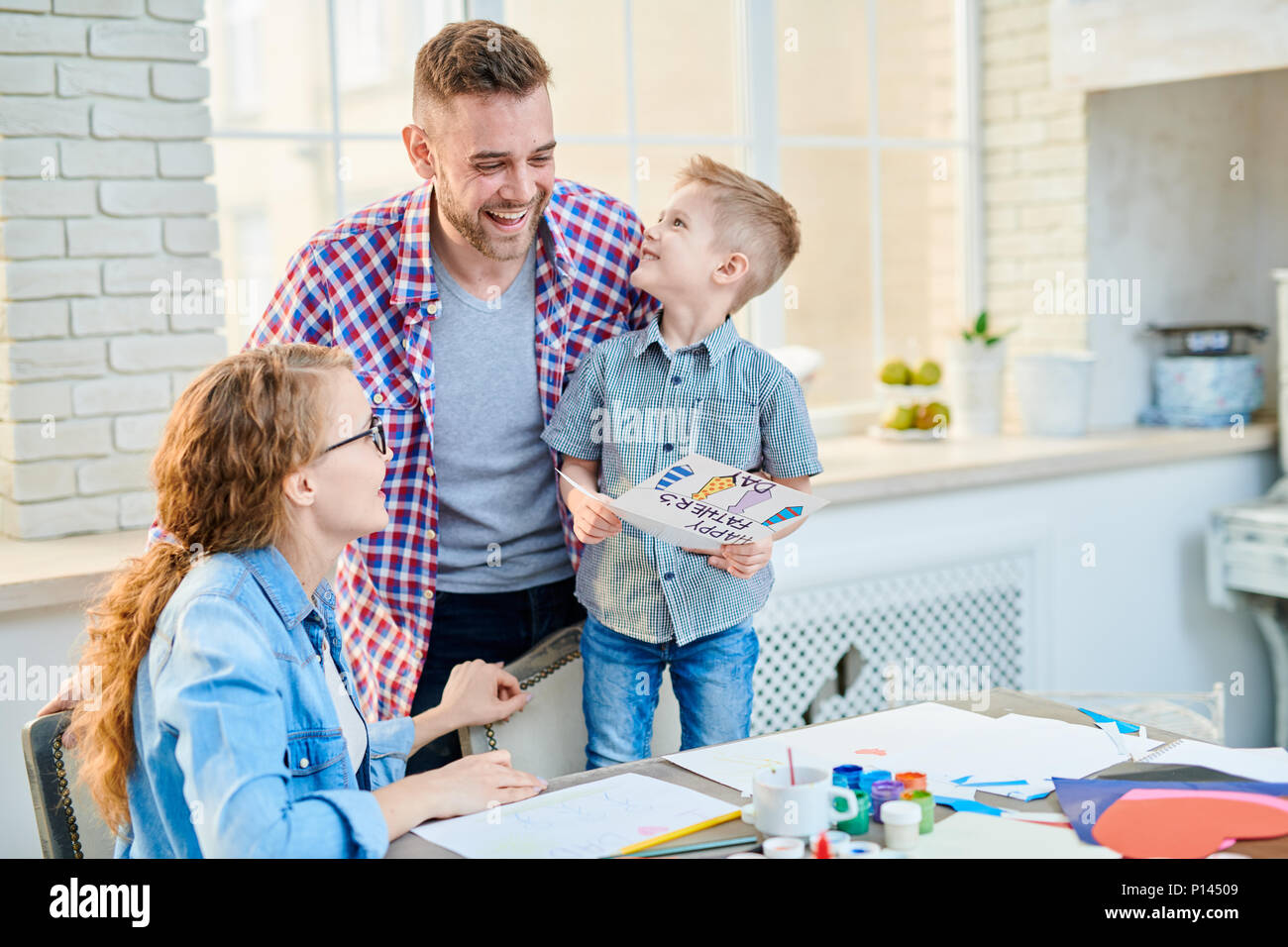 Adorable Family Celebrating Fathers Day - Stock Image