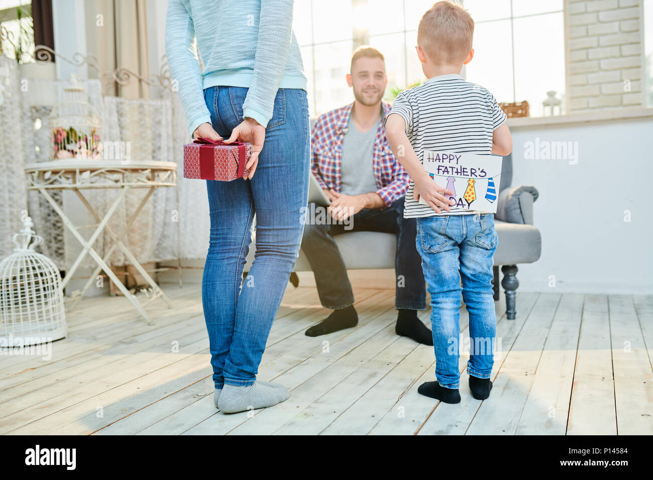 Young Family Celebrating Fathers Day Stock Photo