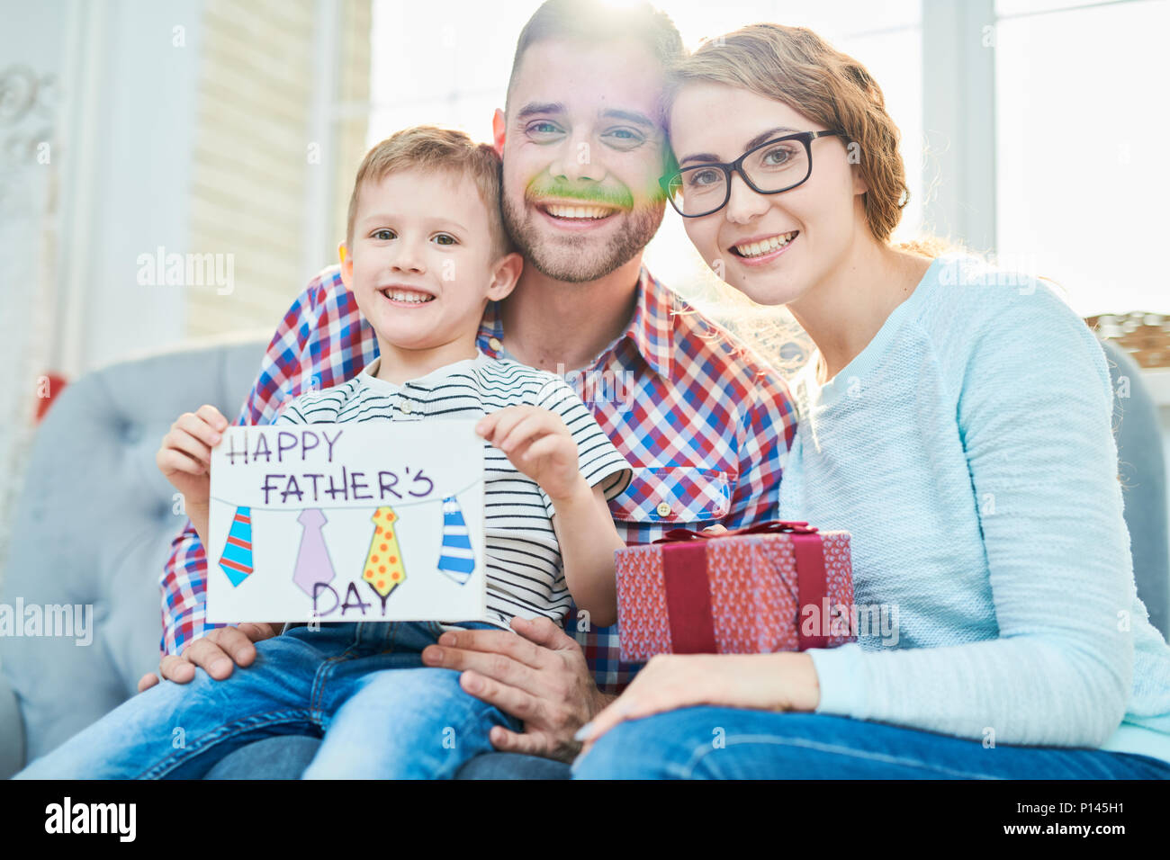 Family Portrait on Fathers Day Eve - Stock Image