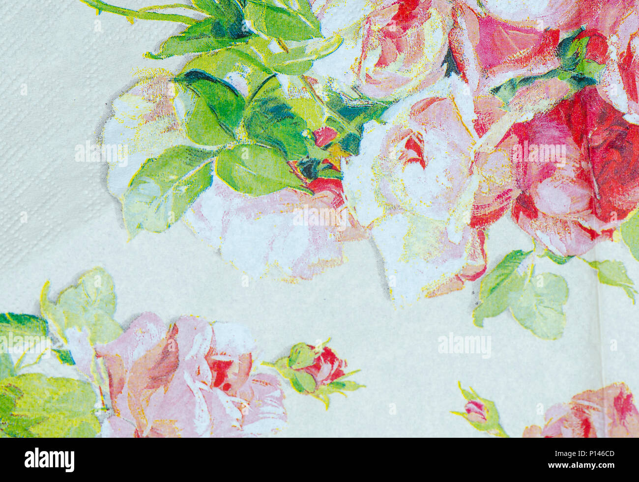 Patterns Of Flowers Print On Paper Background Stock Photo