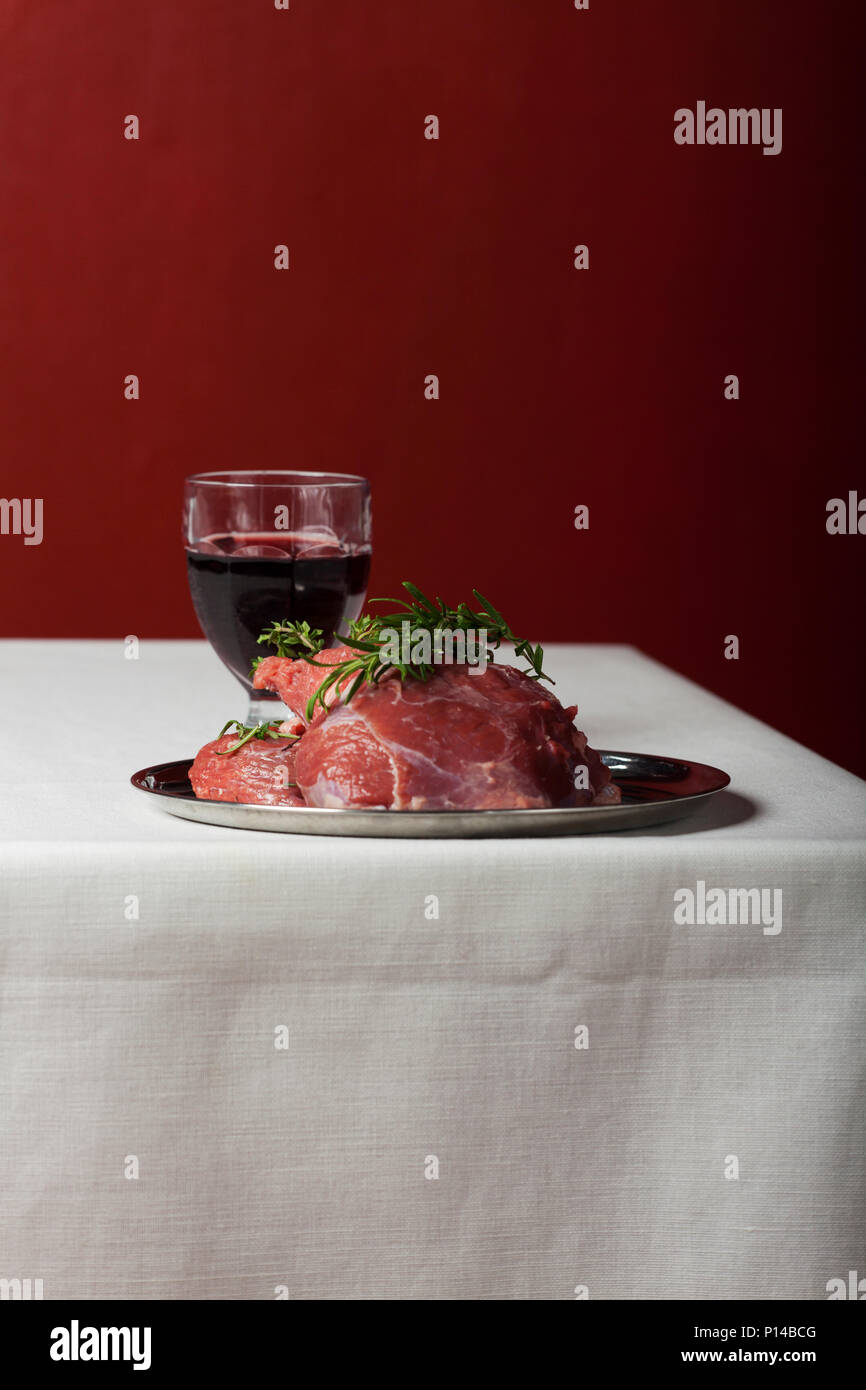raw lamb meat on linen cloth - Stock Image