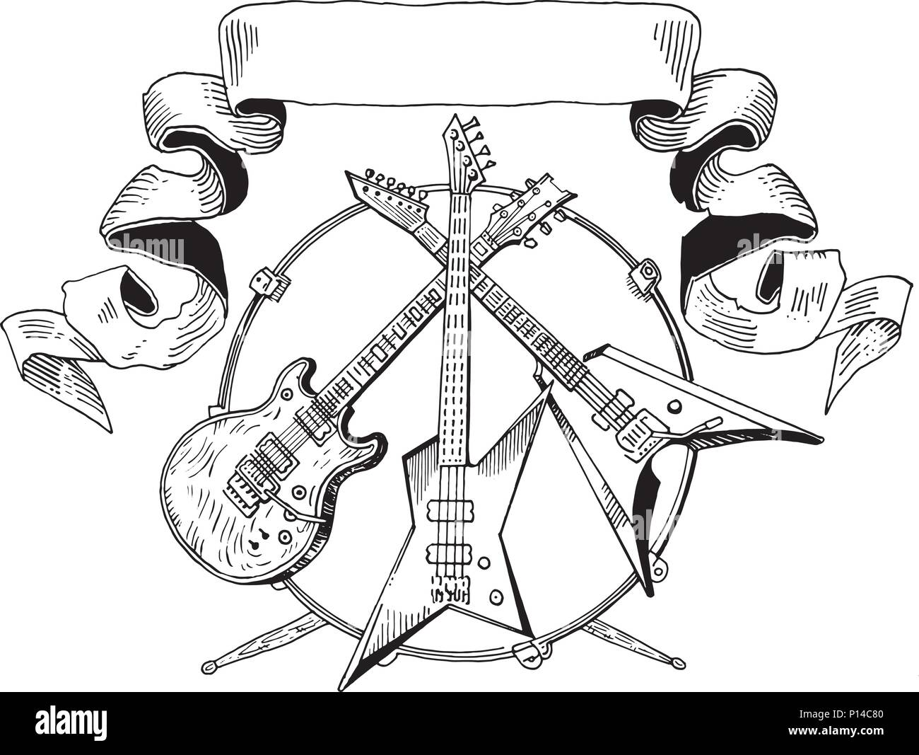 heavy metal coat of arms electric guitar bass drums line art