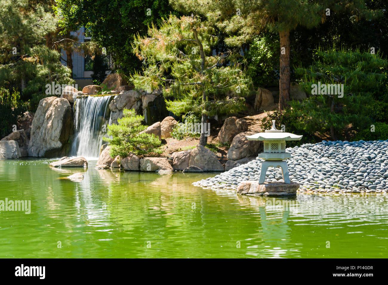 Japanese Friendship Garden Waterfall, Pond U0026 Lantern