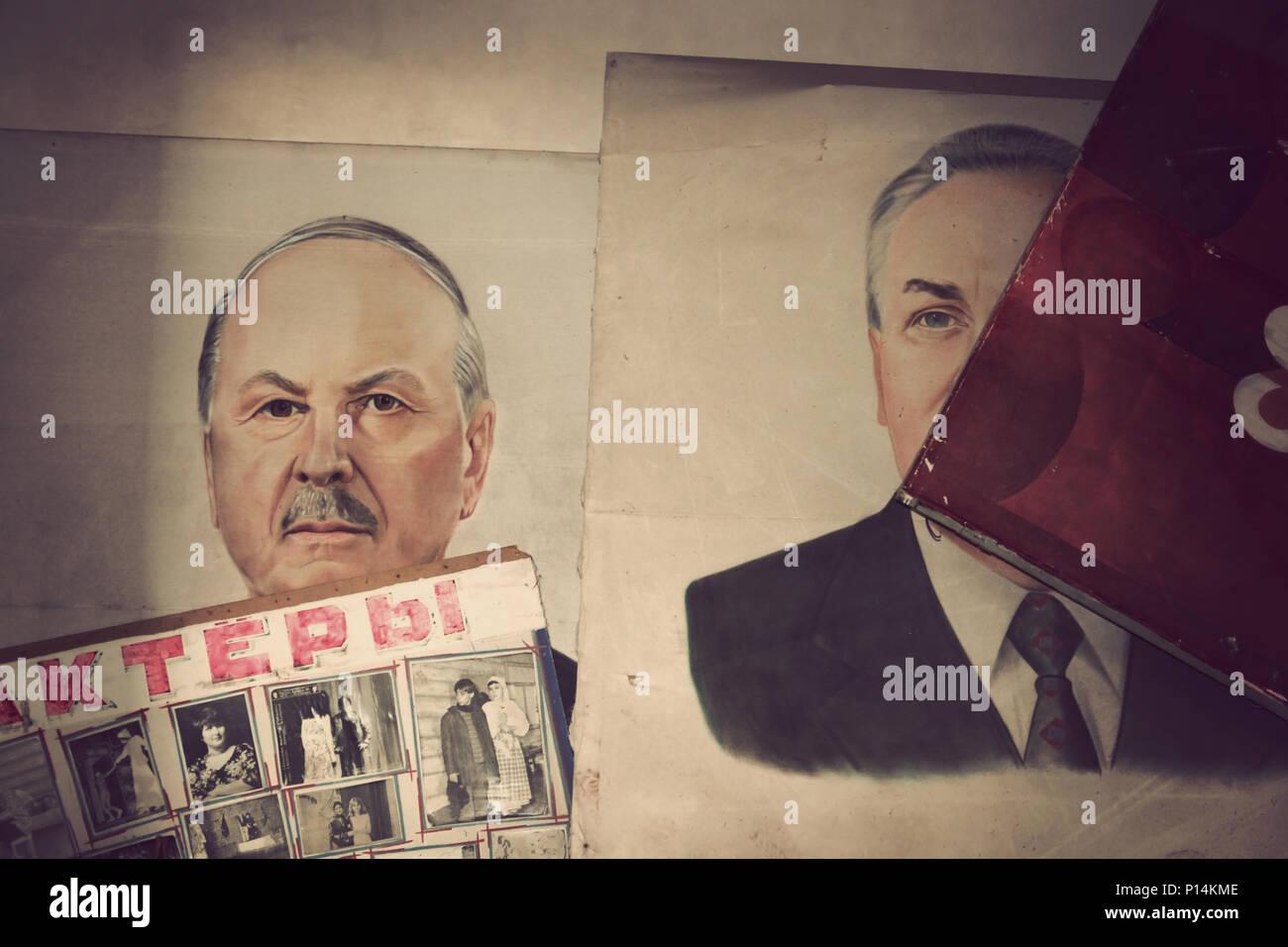 Old soviet propaganda stuff. Abandoned City of Pripyat, Chernobyl, Ukraine. - Stock Image