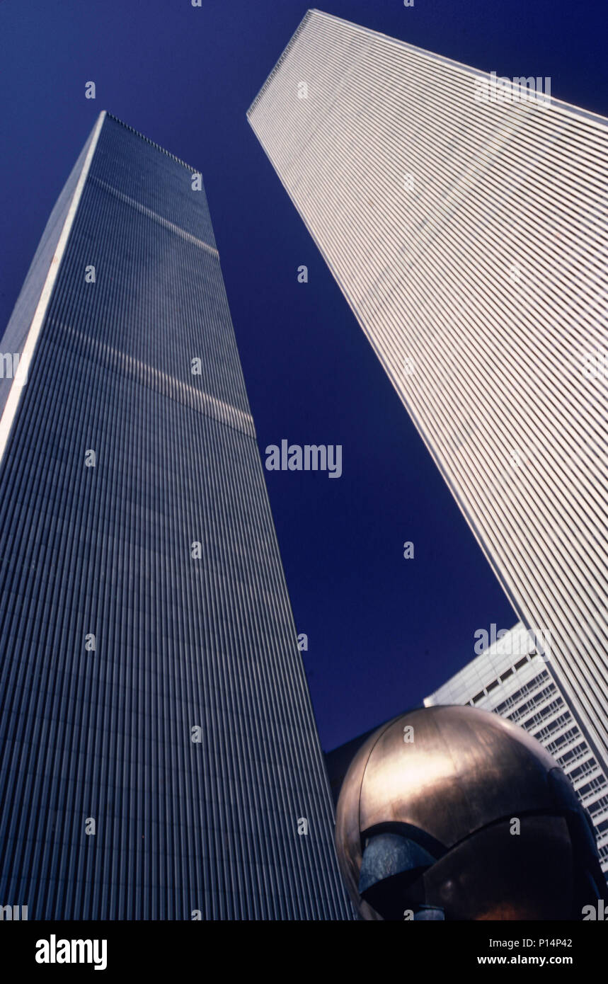 the Twin Towers , World Trade Center, , 1987, NYC, USA - Stock Image