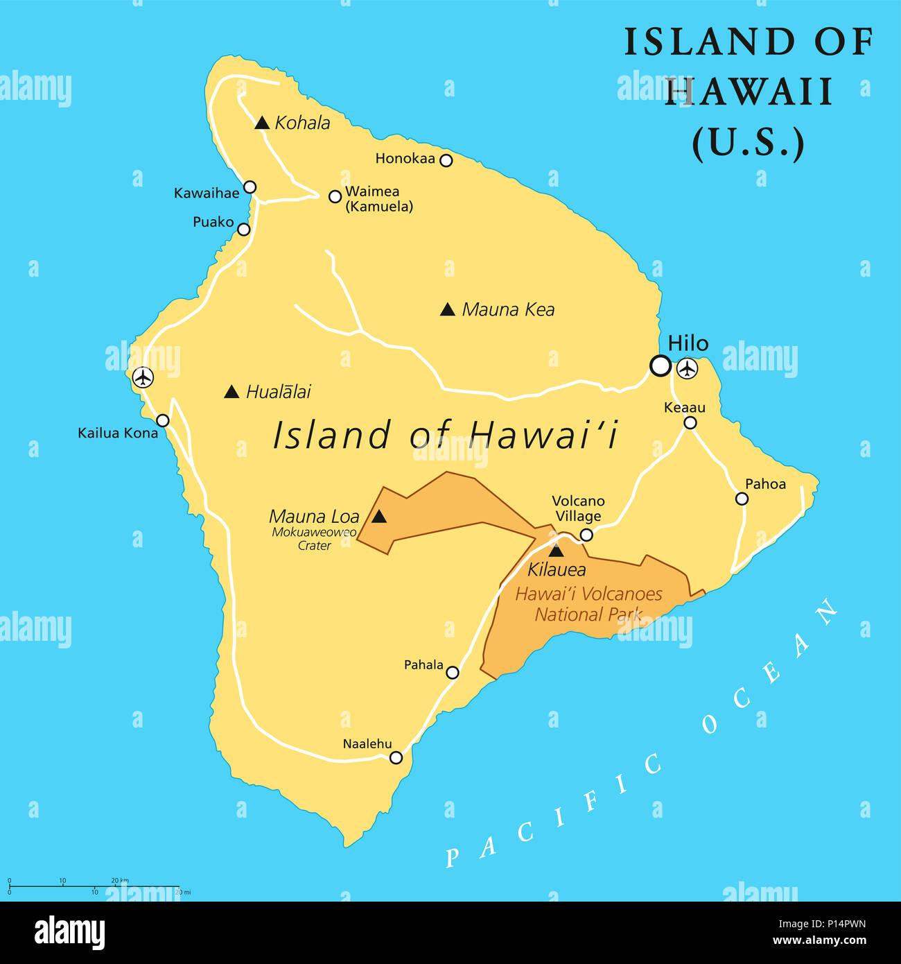 Kohala Hawaii Map.Island Of Hawaii Political Map Largest Island Located In The U S