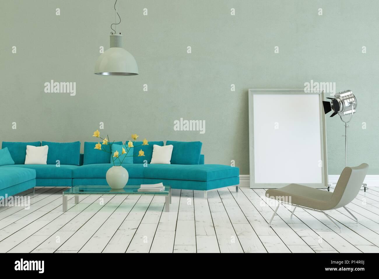 Awe Inspiring Blue Sofa In Modern Scandinavian Design With Grey Wall Stock Inzonedesignstudio Interior Chair Design Inzonedesignstudiocom