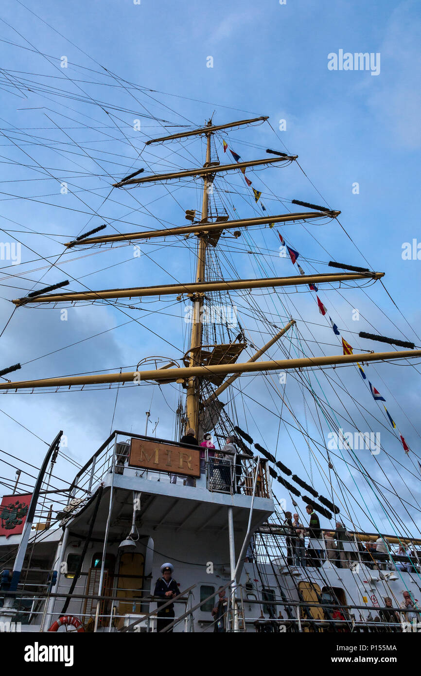 Tall Ships Race 2008. Bergen, Norway - August 2008. One of the masts of 'Mir', Russian large square rigged sail ship. - Stock Image