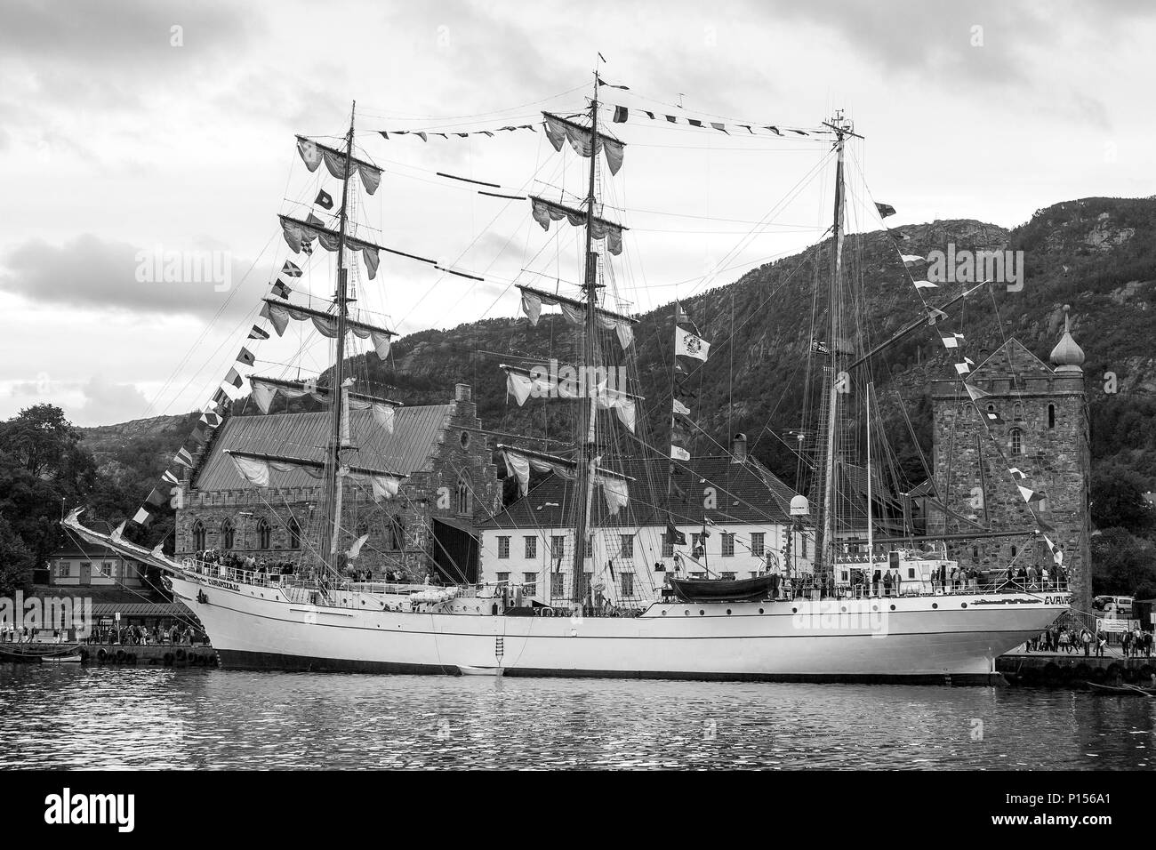 Tall Ships Race 2008. Bergen, Norway - August 2008. The Mexican Cuauhtemoc (three masted barque), in front of Haakonshallen - Stock Image