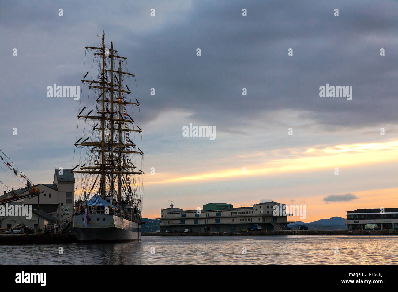 Tall Ships Race 2008. Bergen, Norway - August 2008. The Russian Mir (square rigged sail ship) - Stock Image
