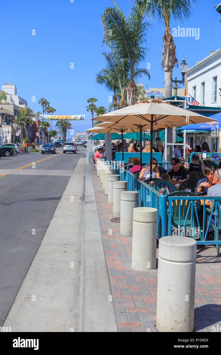 Restaurants and outdoor eating on main street huntington beach california usa stock image