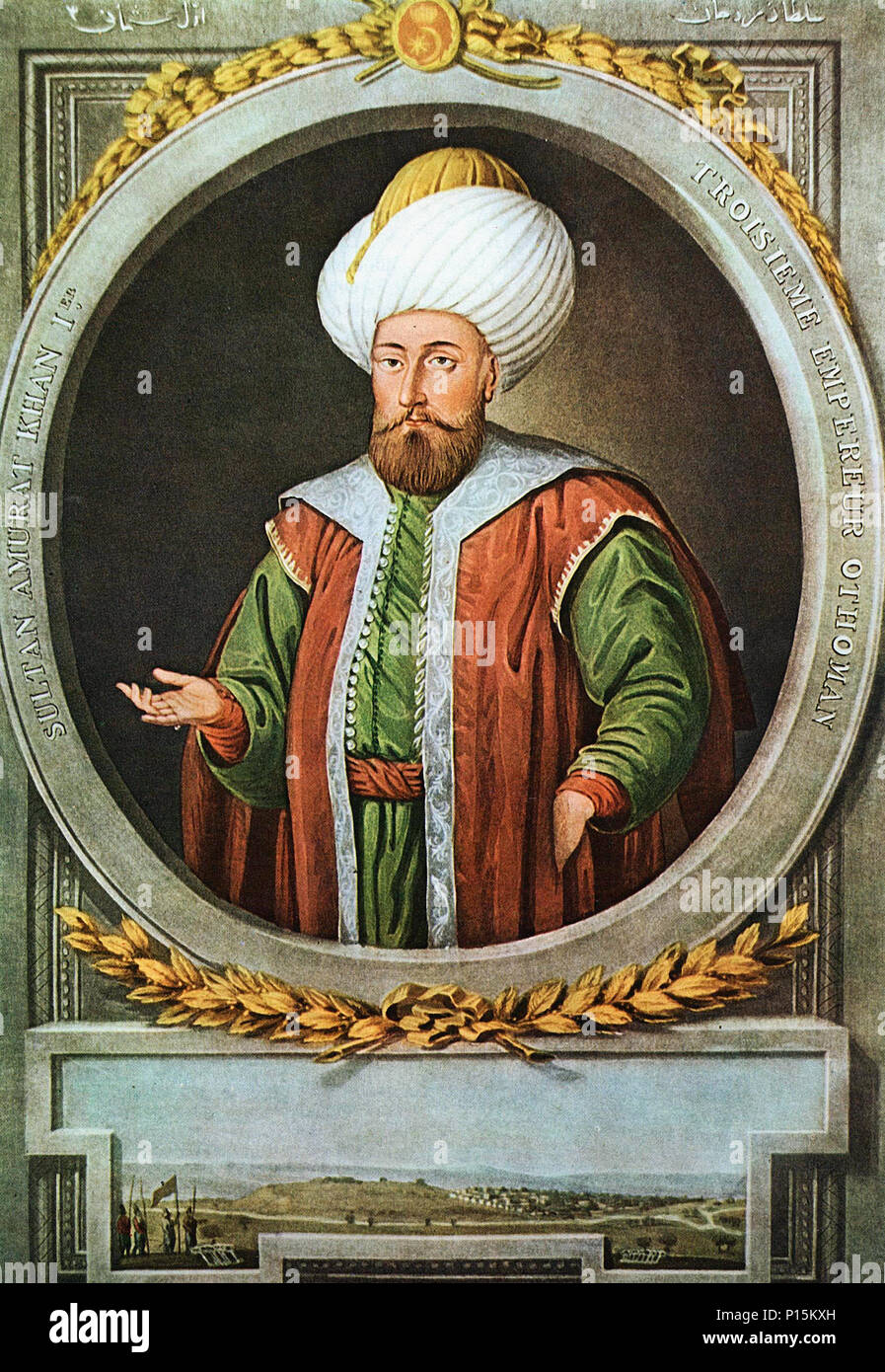 Murad I was the Ottoman Sultan from 1362 to 1389. - Stock Image
