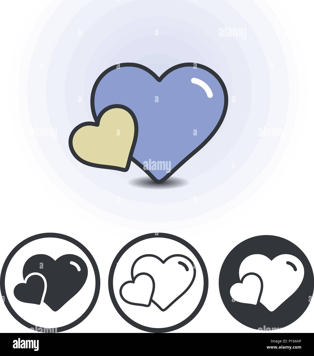 Mother Love Logo Two Hearts Big And Small Mom With A Child Baby