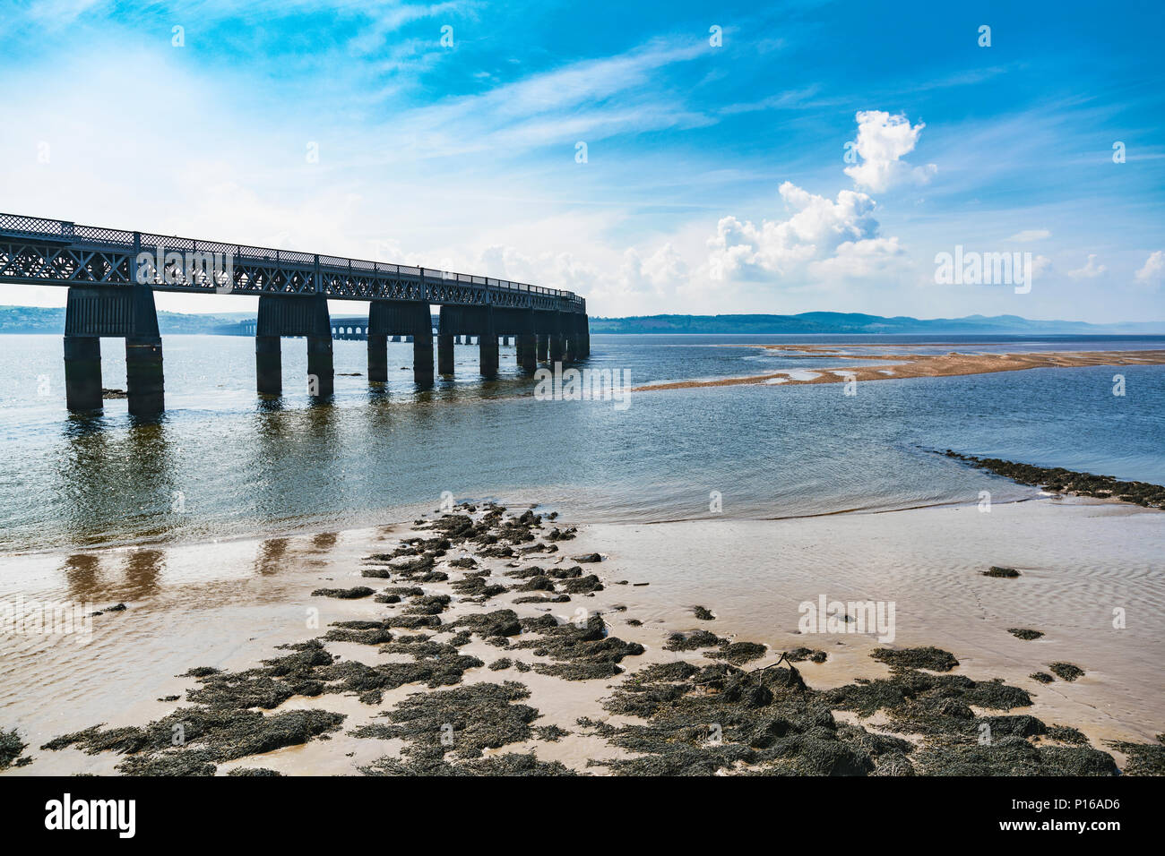 Panoramic view of the Tay Rail Bridge in Scotland. A railway bridge that spans the Firth of Tay, between the city of Dundee and Wormit. - Stock Image