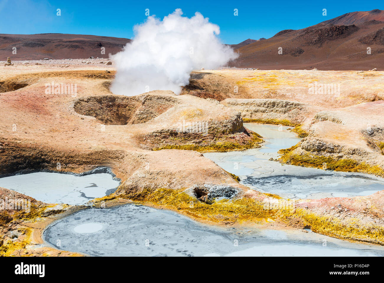 The geothermal and volcanic activity of Sol de Manana in the Eduardo Avaroa Reserve between the Uyuni Salt Flat and the Atacama desert, Bolivia. - Stock Image
