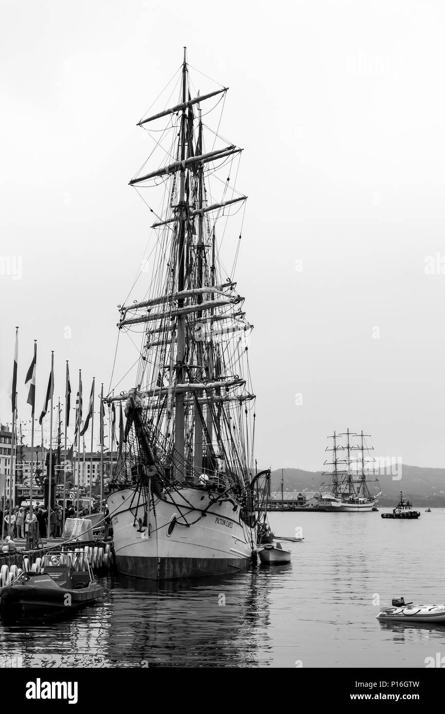 Tall Ships Race 2008. Bergen, Norway - August 2008. Picton Castle (barque) on left, the Russian Mir in the background - Stock Image